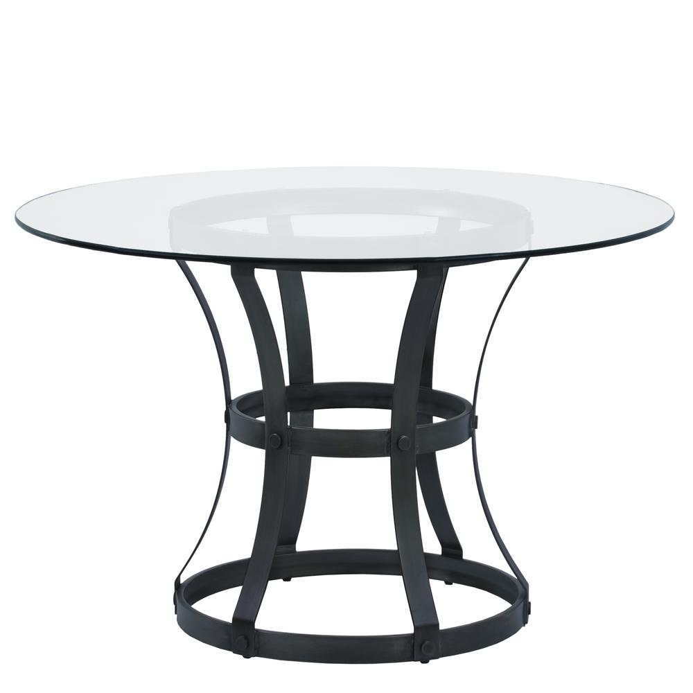 Armen Living Vancouver Round Dining Table In Mineral Finish And 48 Glas