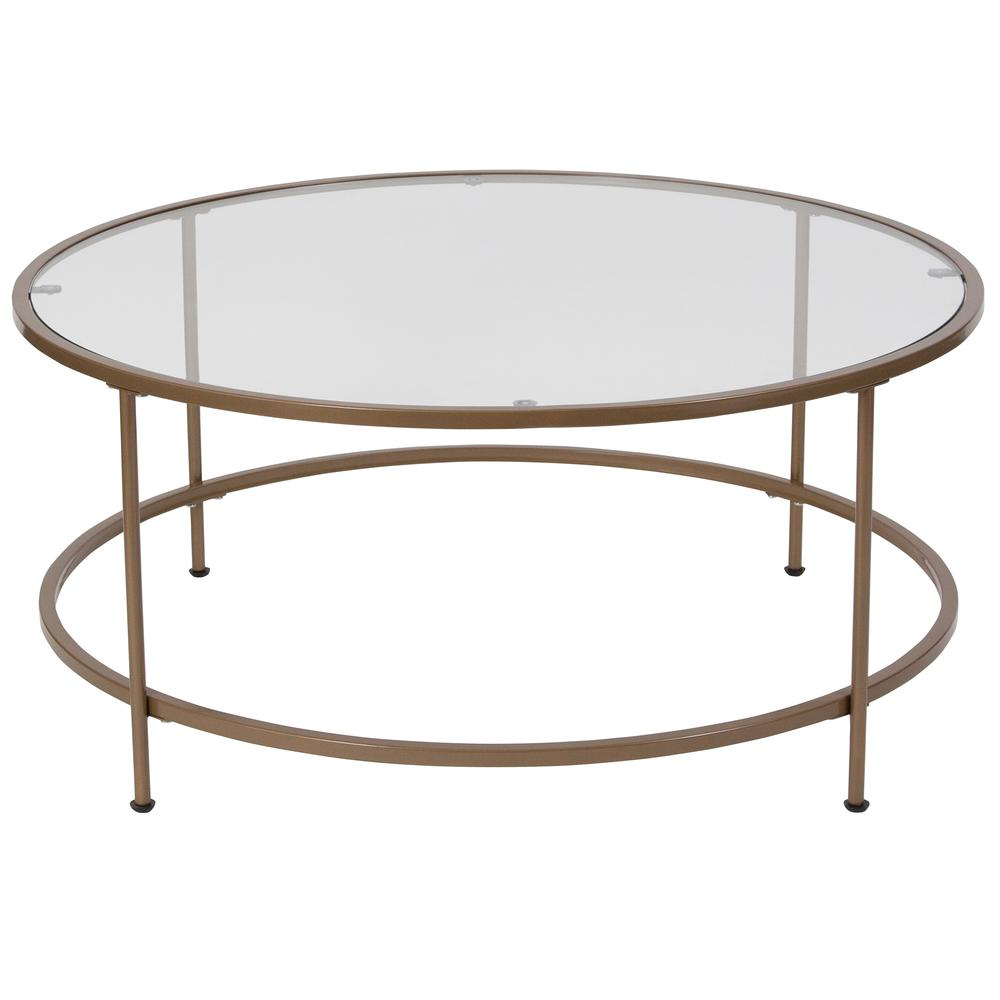 Glass Coffee Table With Matte Gold Frame 889142373490