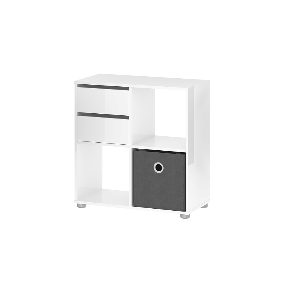 Tvilum Divide Bookcase With Cube, White High Gloss