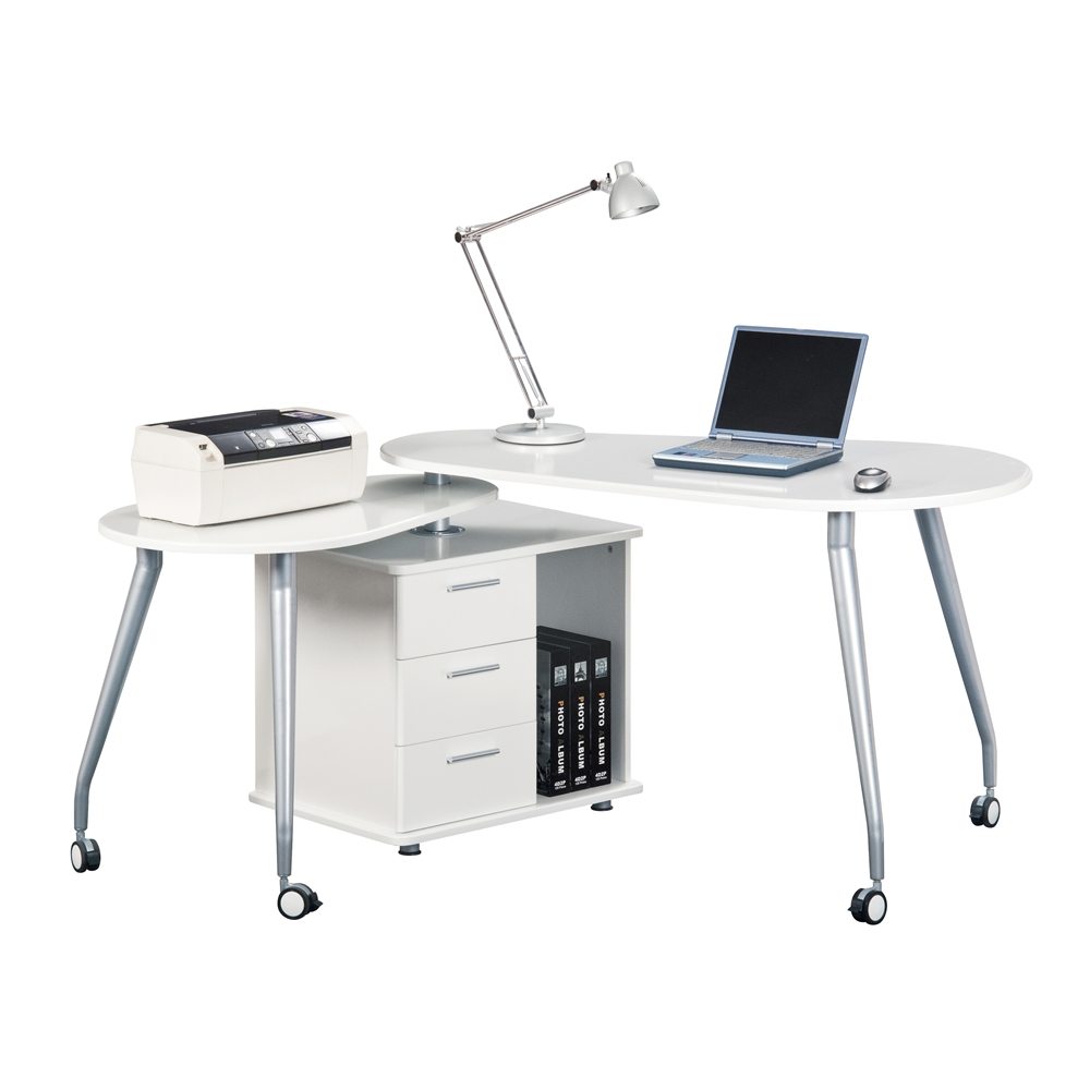 Techni Mobili Modern Rotating Computer Desk With Storage