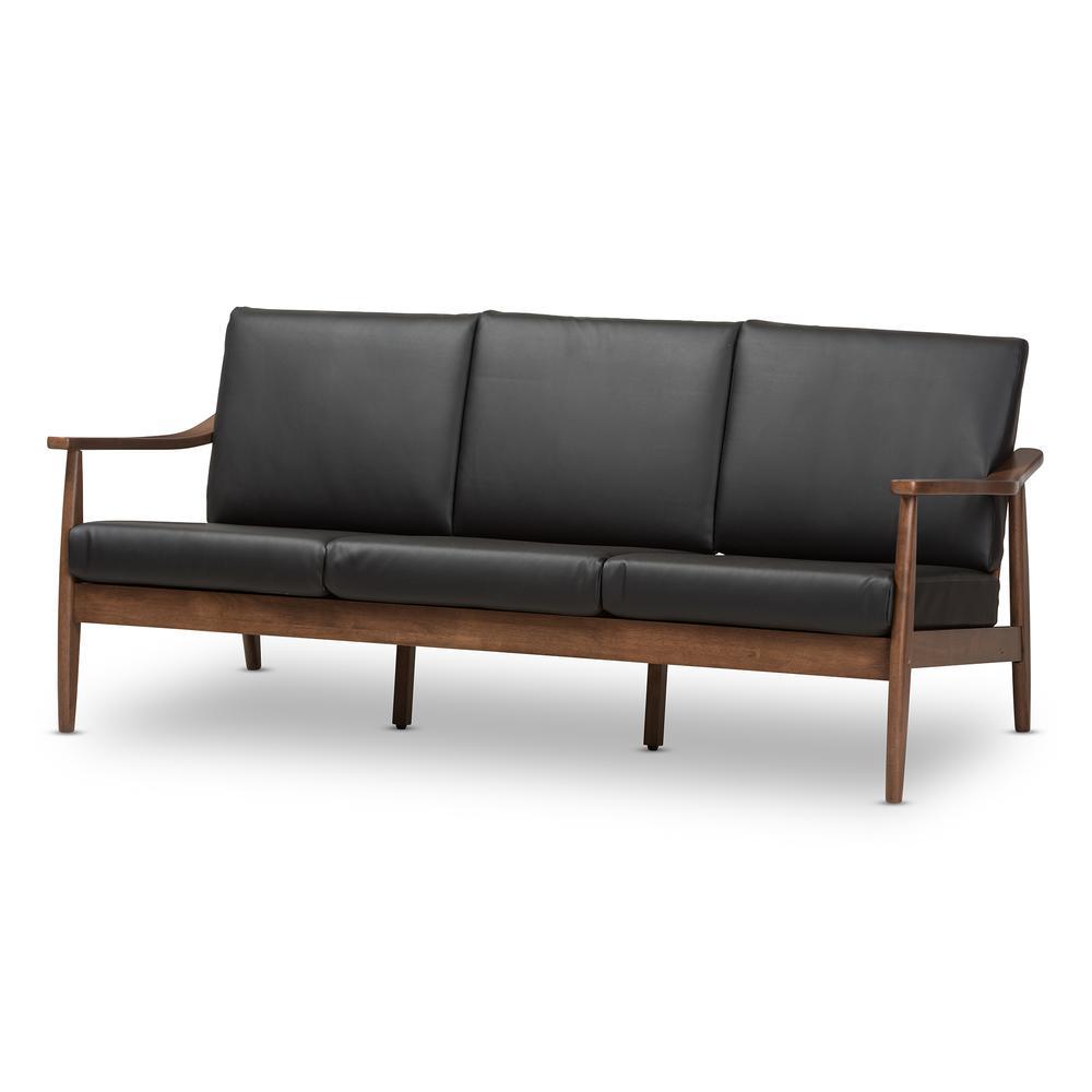 Venza Mid-Century Modern Walnut Wood Black Faux Leather 3-Seater ...
