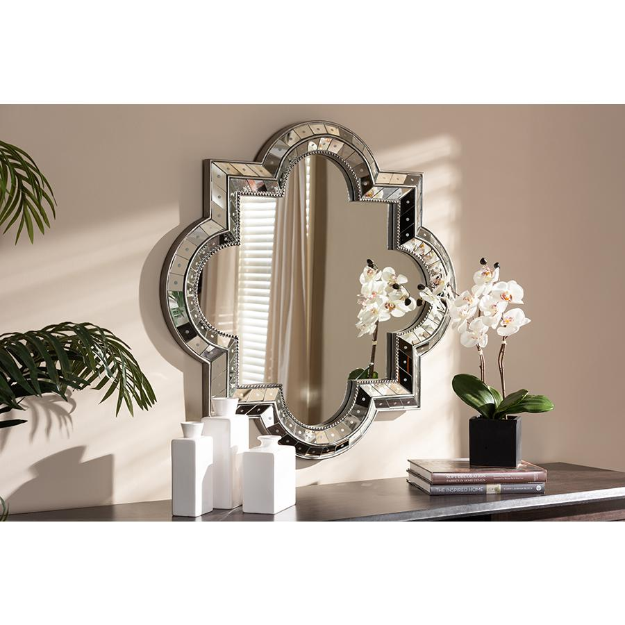 Catia Art Deco Antique Silver Finished Quatrefoil Accent Wall Mirror 842507150198 Ebay