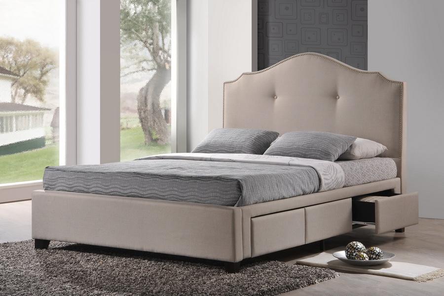 Armeena Beige Linen Modern Storage Bed With Upholstered Headboard Queen Size