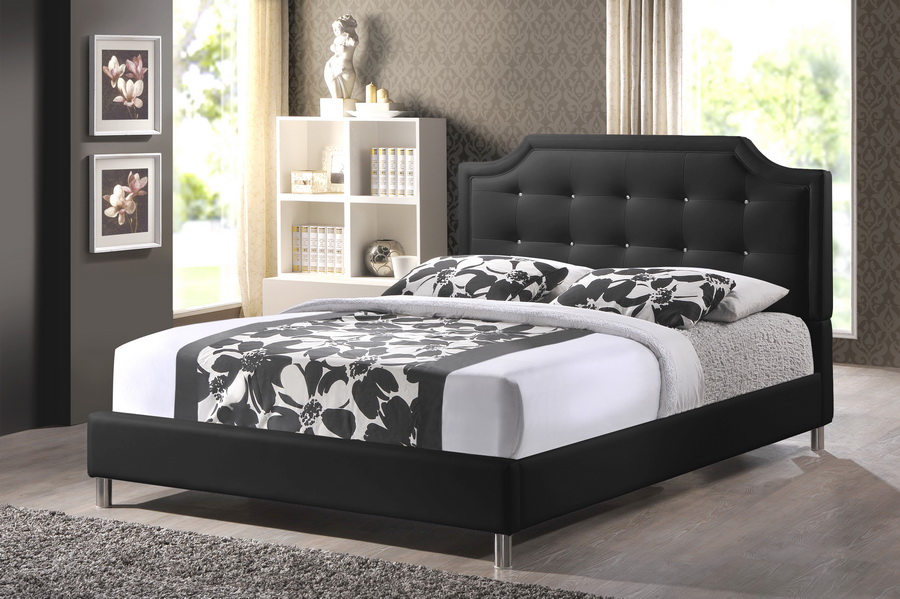 Carlotta Black Modern Bed with Upholstered Headboard - Queen Size | eBay
