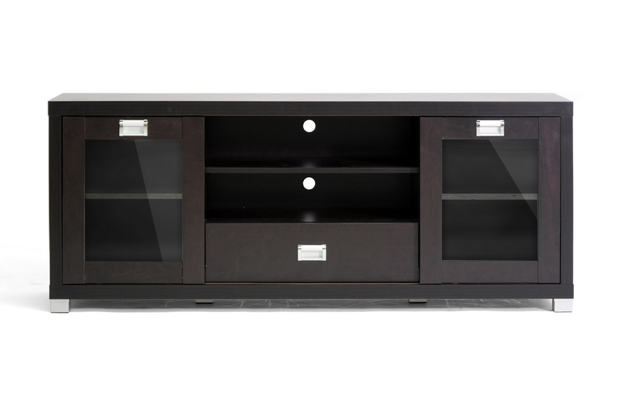 Matlock Modern Tv Stand With Glass Doors Dark Brown Ebay