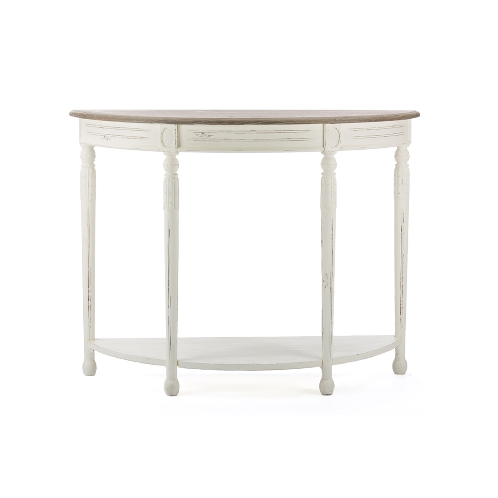 Vologne Traditional White Wood French Console Table WhiteNatural