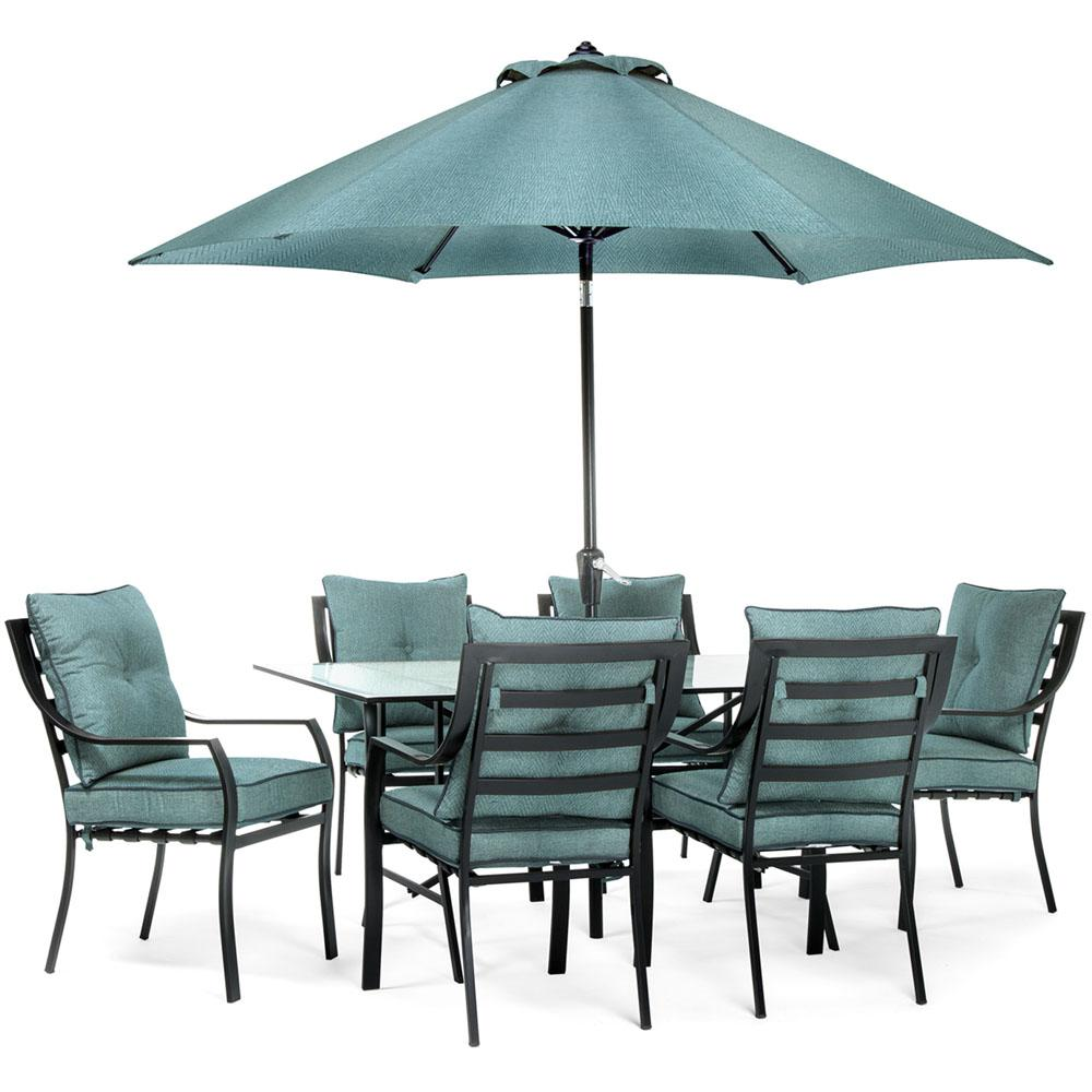 7pc dining set 6 chairs 1 table 1 umbrella 1 umb base