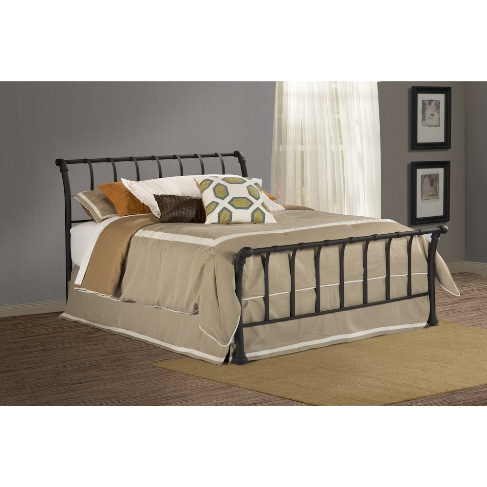 eleanor sleigh bed with elegant curved side rails | Janis Bed Set - King - Rails not included, Textured Black ...