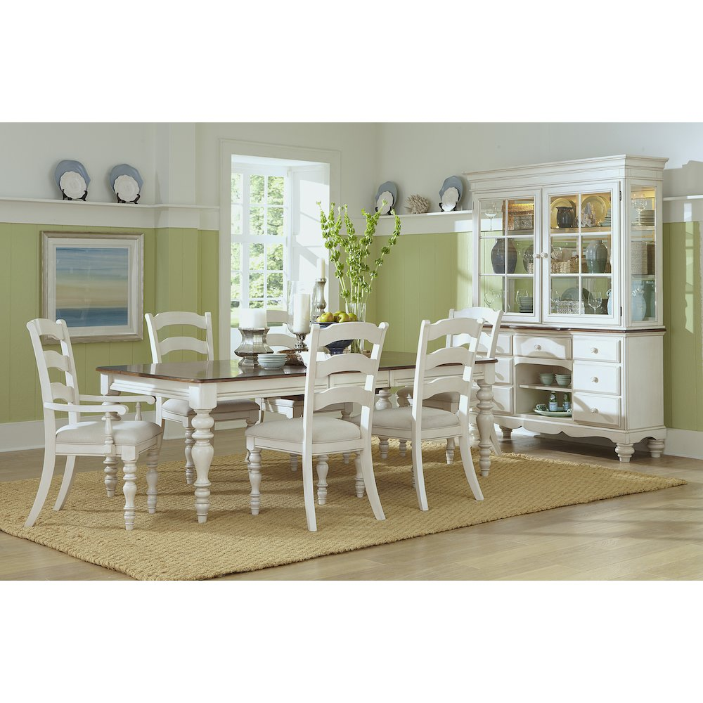 Details About Pine Island 7 Pc Dining Set With Ladder Back Chairs Old White