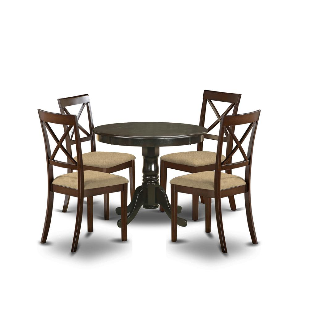 Small Black Dining Table And 4 Chairs Round Kitchen Table: 5 Pc Small Kitchen Table And Chairs Set-round Table And 4