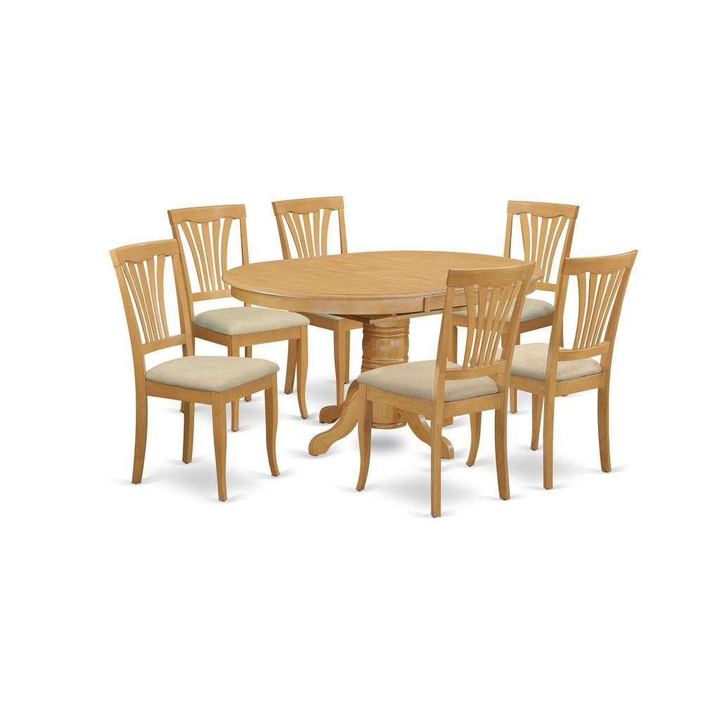 7 Pc Dining Room Set-Oval Dinette Table With Leaf And 6