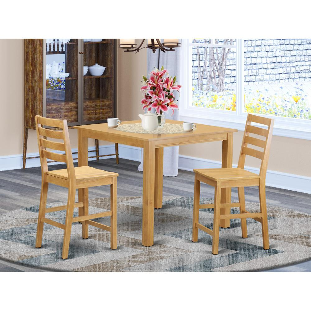 3 Pcs Modern Counter Height Dining Set Table And 2 Chairs: Counter Height Table And 2 Dining