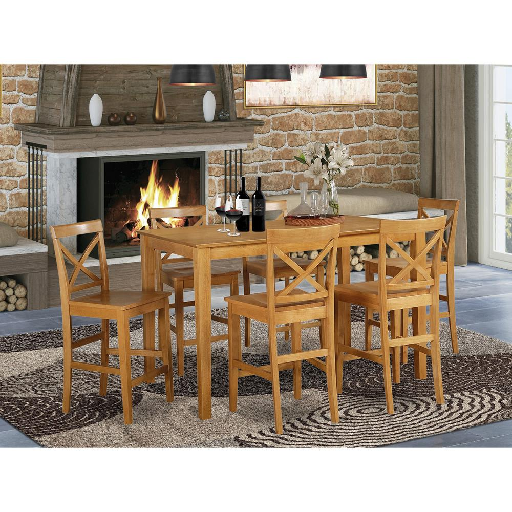 7 Pc Pub Table Set Table And 6 Kitchen Bar Stool