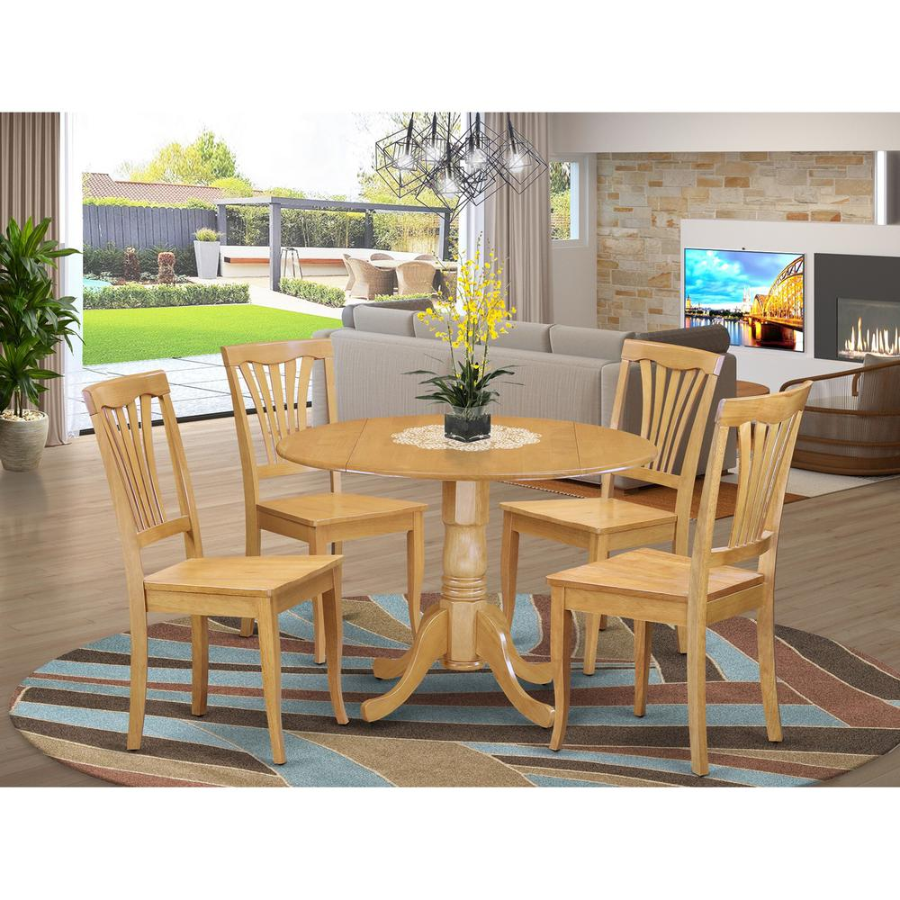 5pc Set Round Dinette Kitchen Table W 4 Microfiber: 5 PC Kitchen Table Set-drop Leaf Table And 4 Dinette