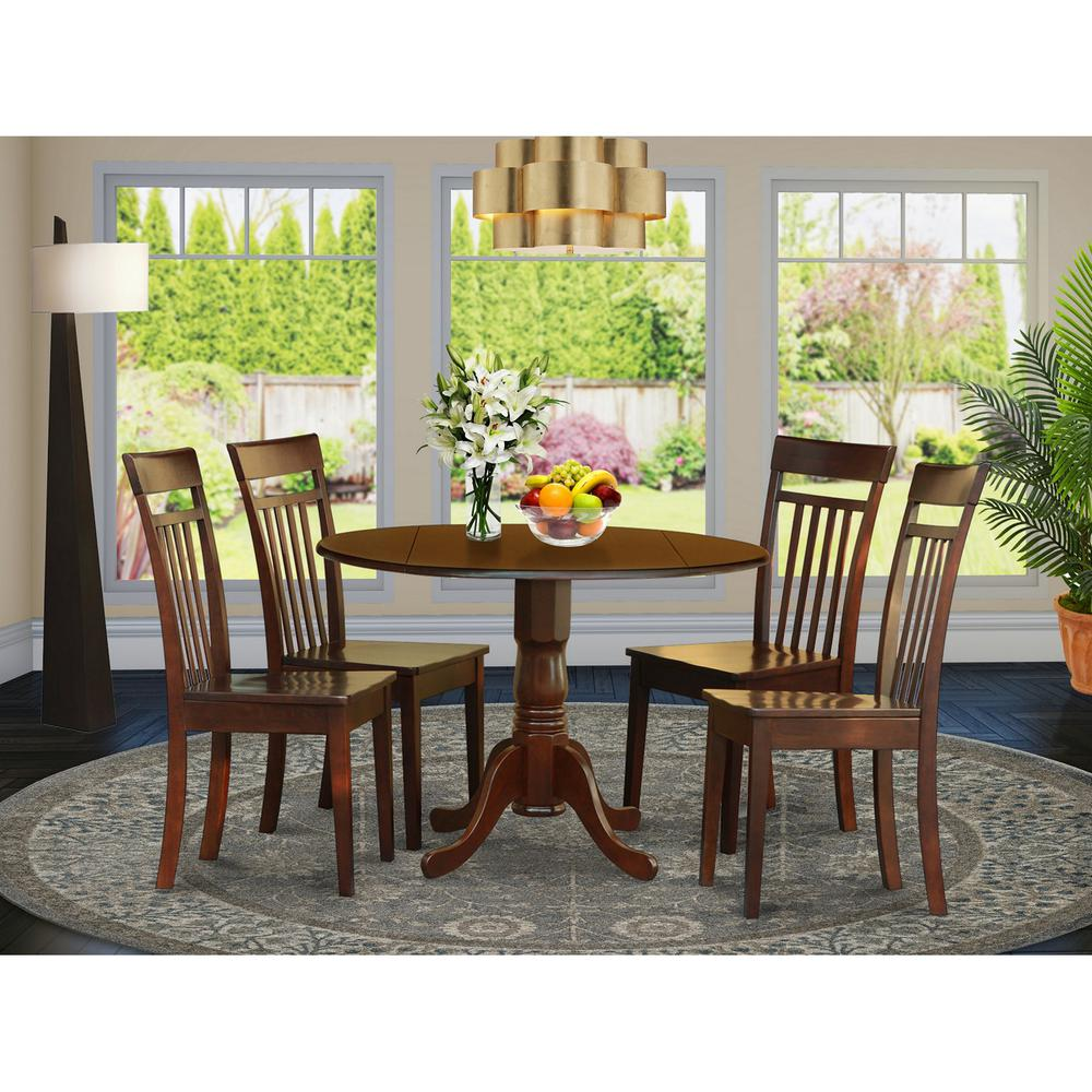 5 Piece Small Round Table And 4 Dining Chairs: 5 Pc Kitchen Nook Dining Set-small Table And 4 Dining