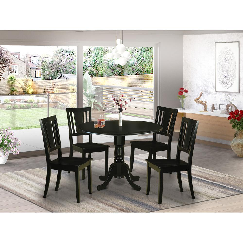 5 Piece Small Round Table And 4 Dining Chairs: 5 PC Dining Room Set For 4-Small Kitchen Table And 4