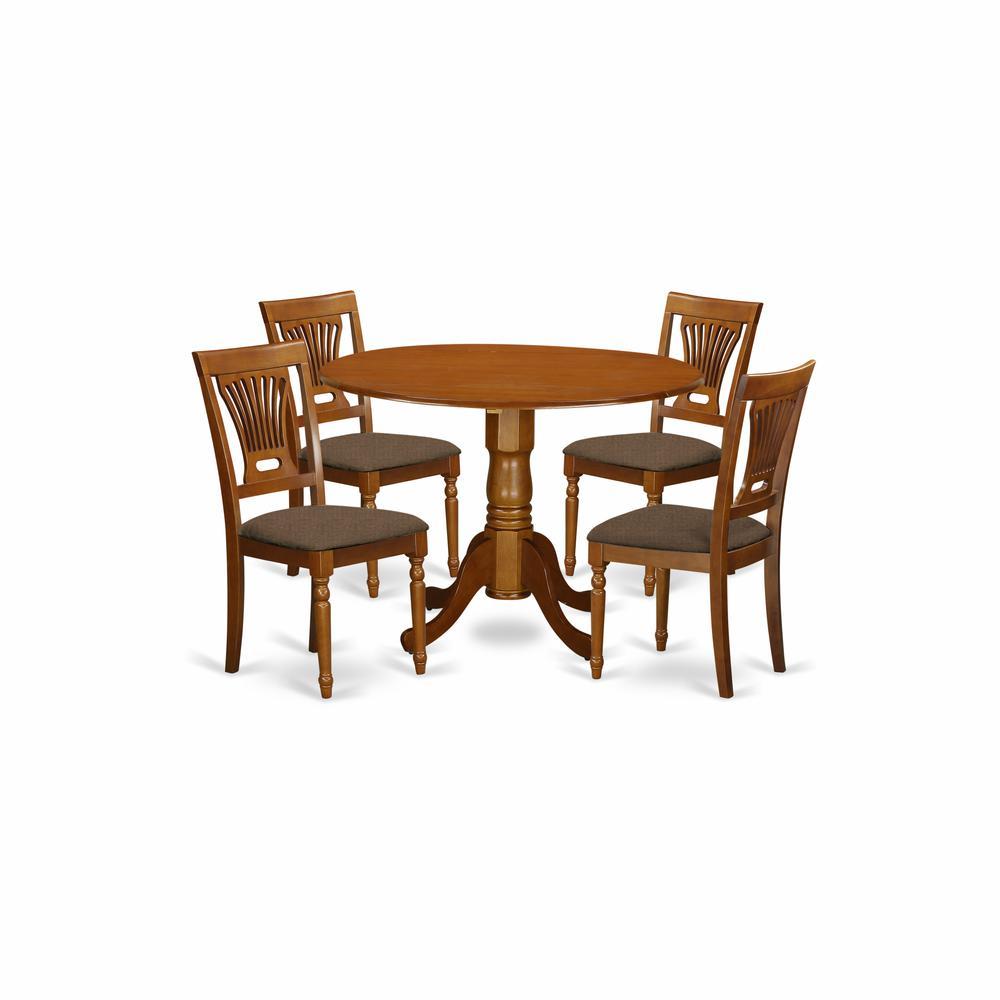 5 PC Kitchen nook Dining set-round Table plus 4 dinette ...