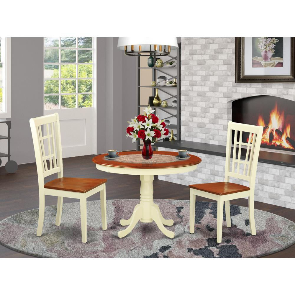 Small Wood Table And Chairs: 3 Pc Set With A Round Small Table And 2 Wood Dinette