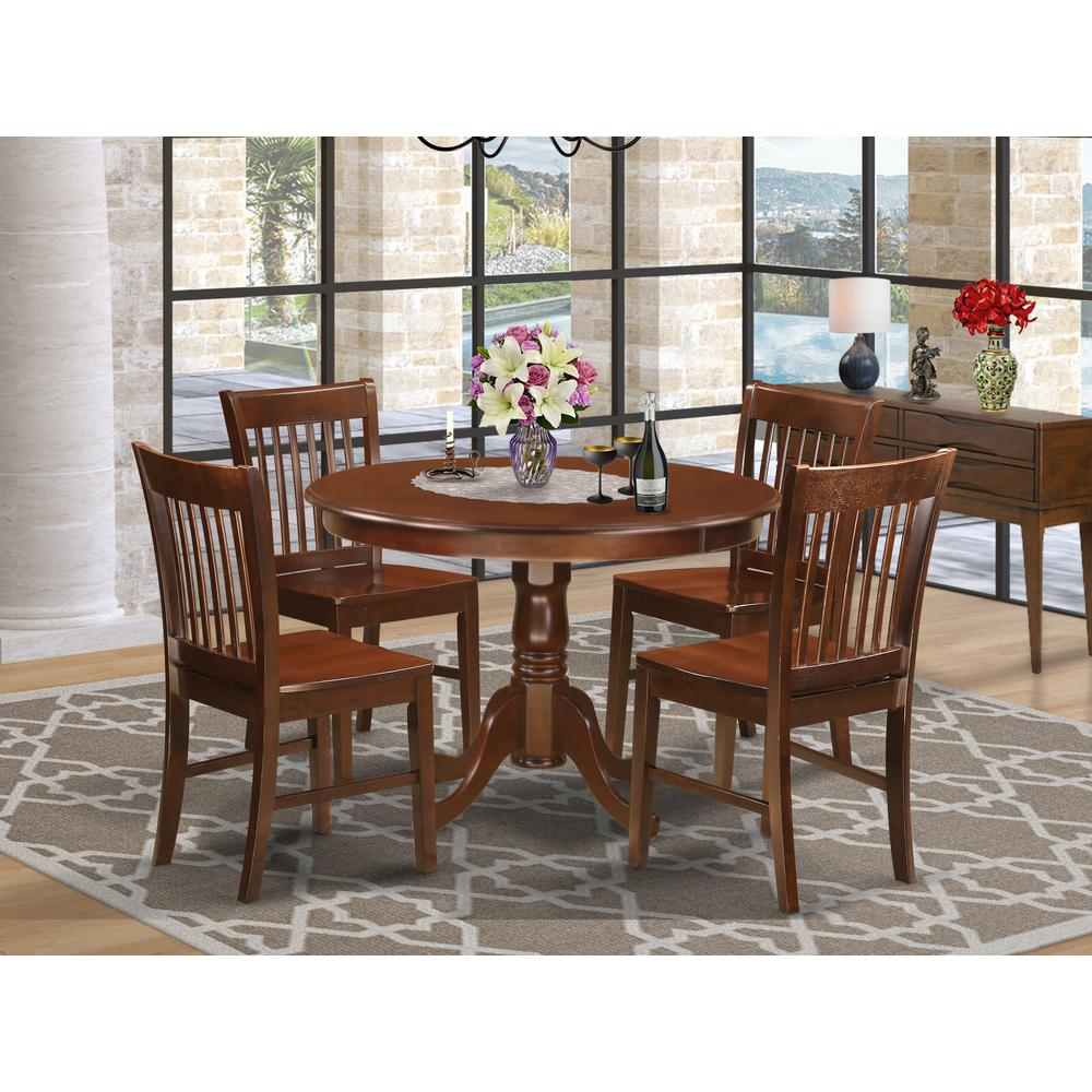 Small Dining Sets For 4: 5 Pc Set With A Round Small Table And 4 Wood Dinette