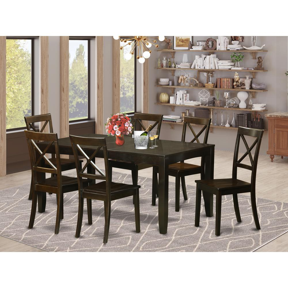 7 PC Formal Dining Room Set-Dining Table With Leaf 6