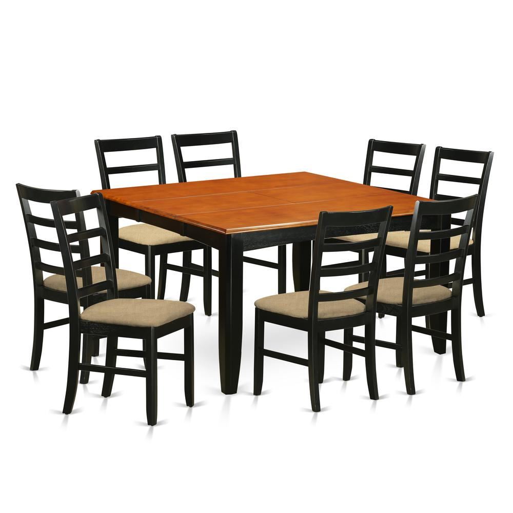 9 Pc Dining Room Set-Square Dining Table With Leaf And 8