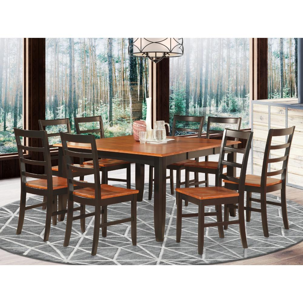 9 Pc Dining Room Set For 8-Square Table With Leaf And 8