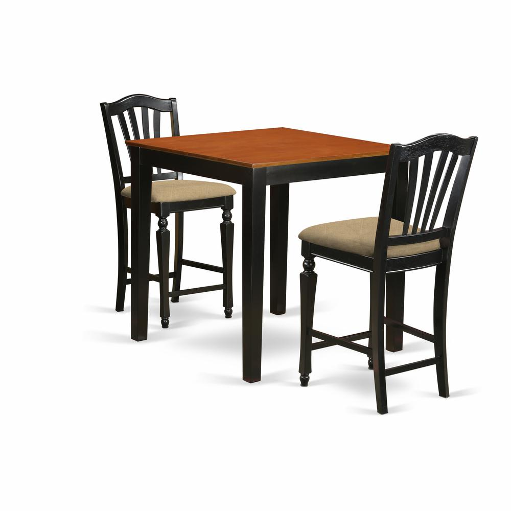 Pc Square Pub Table Set: High Top Table And 2 Kitchen Chairs