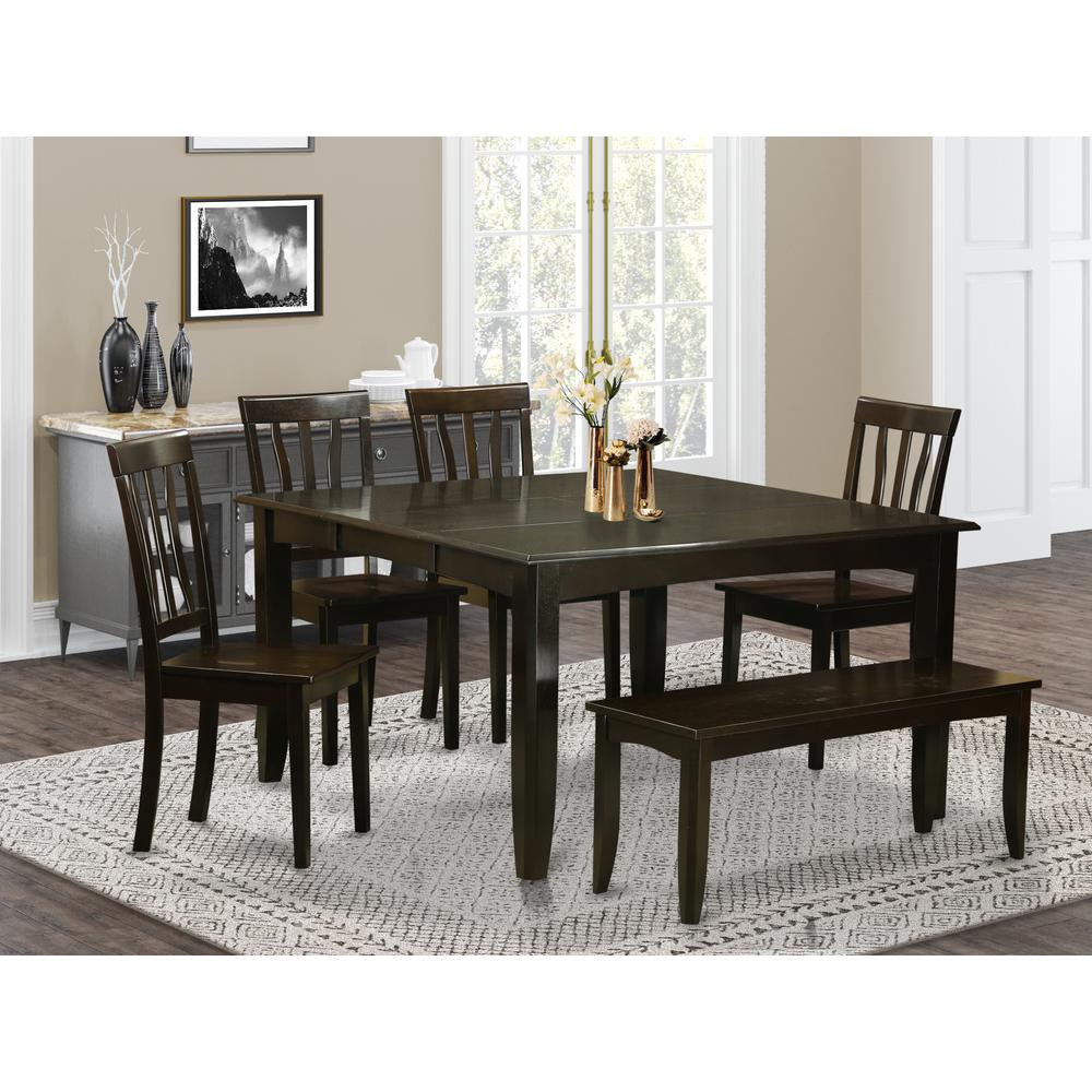 Dining Room Sets With Leaf: 6 Pc Dining Room Set With Bench-Table With Leaf And 4