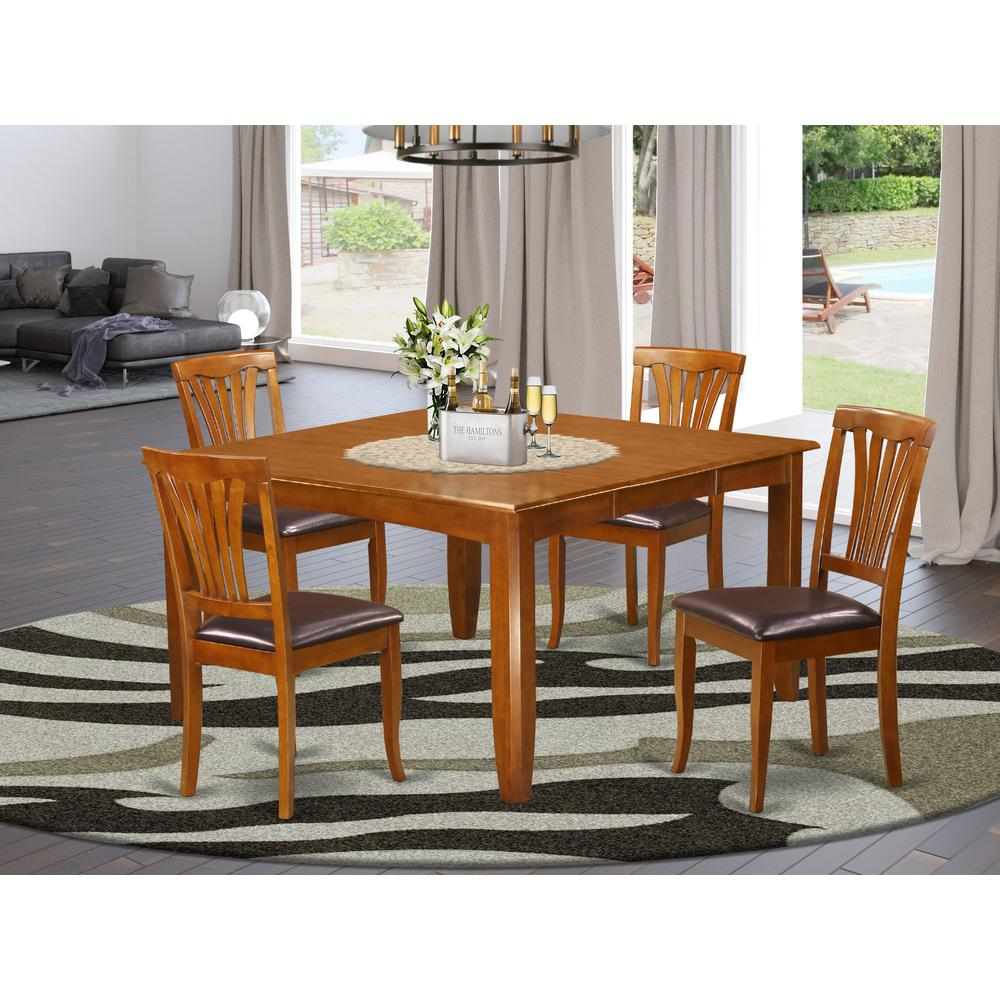 5 Pc Dining Room Set-Square Table With Leaf And 4 Dining
