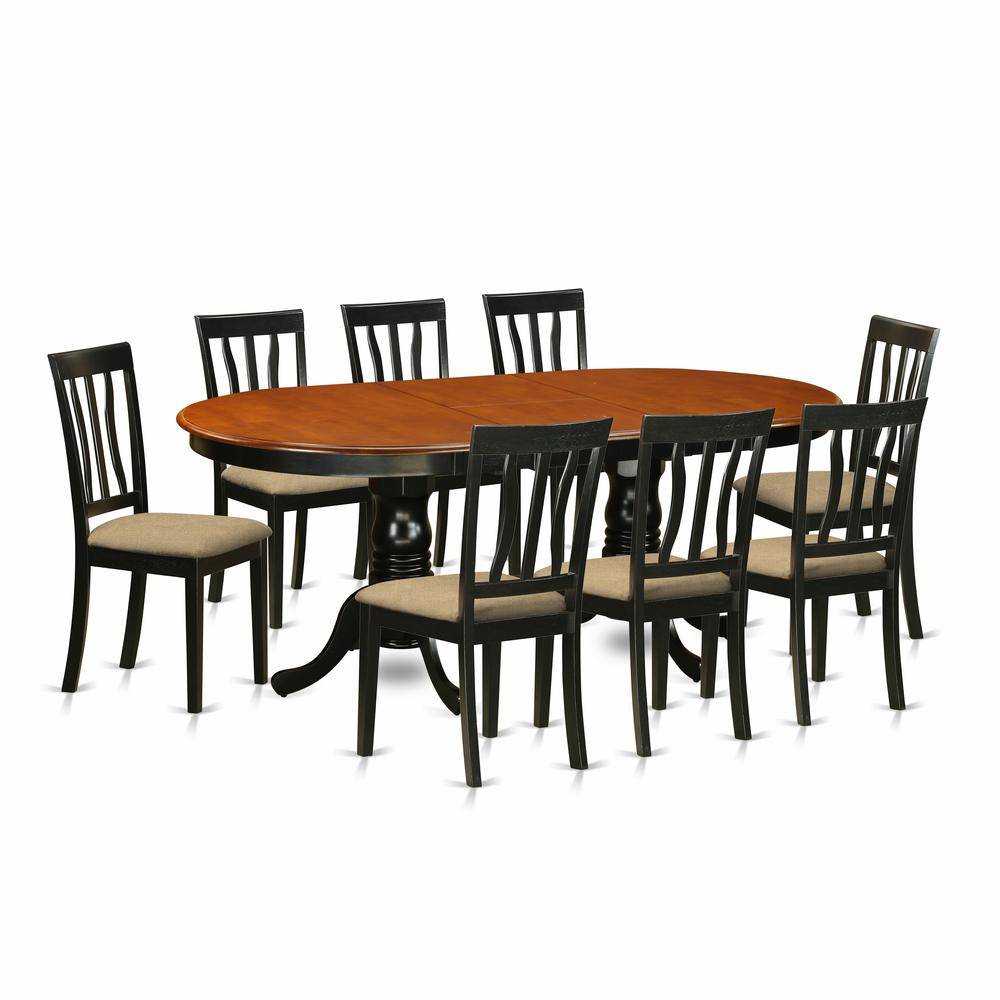 9 PC Dining Room Set Dining Table With 8 Wood Dining Chairs
