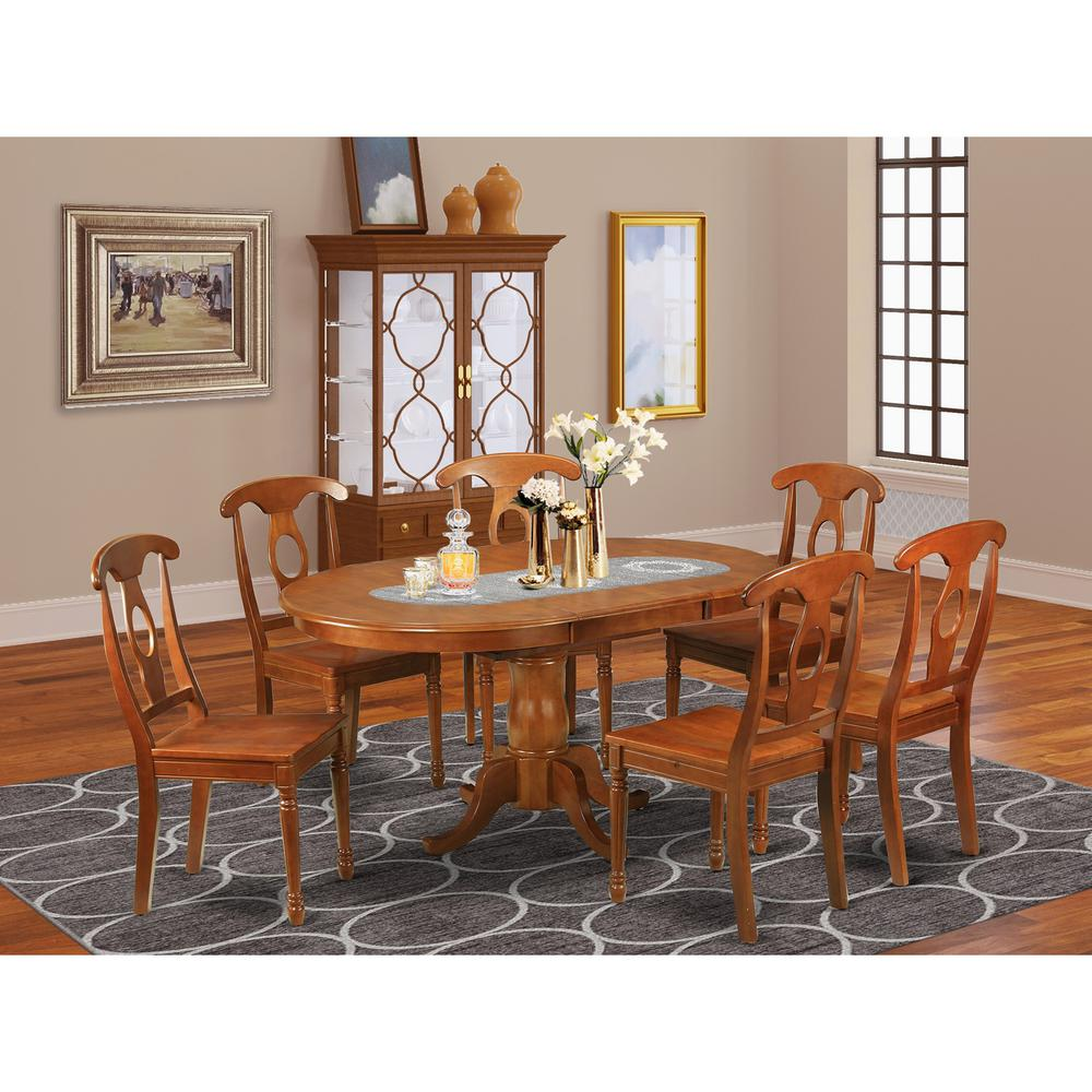 7 Pc Dining Room Sets: 7 Pc Dining Room Set-Oval Dining Table With Leaf And 6