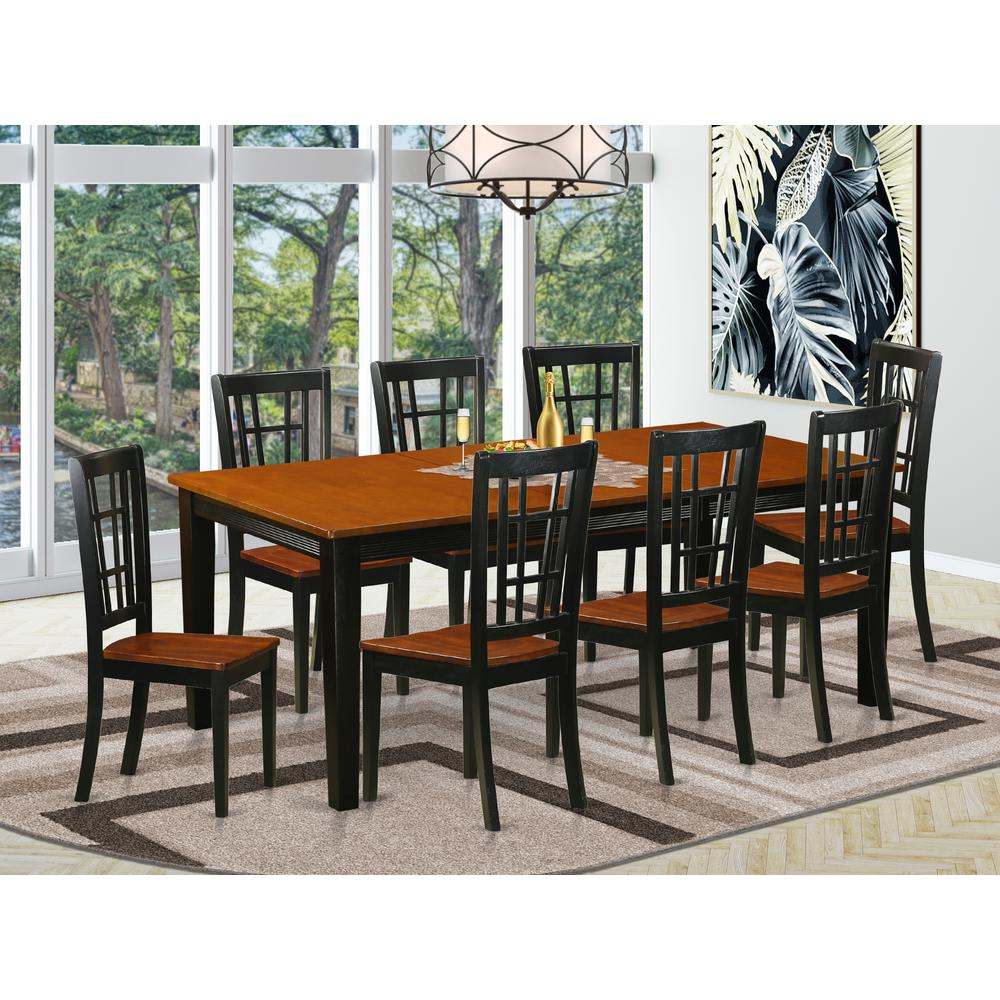 9 Pc Dining Room Set Dining Table With 8 Wooden Dining Chairs Ebay