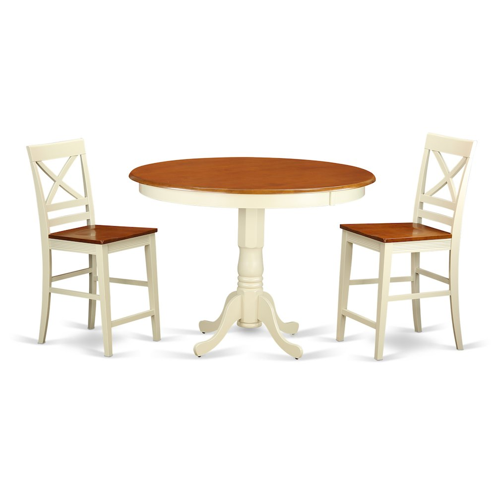 3 Pcs Modern Counter Height Dining Set Table And 2 Chairs: 3 Pc Counter Height Dining Room Set-pub Table And 2 Dining