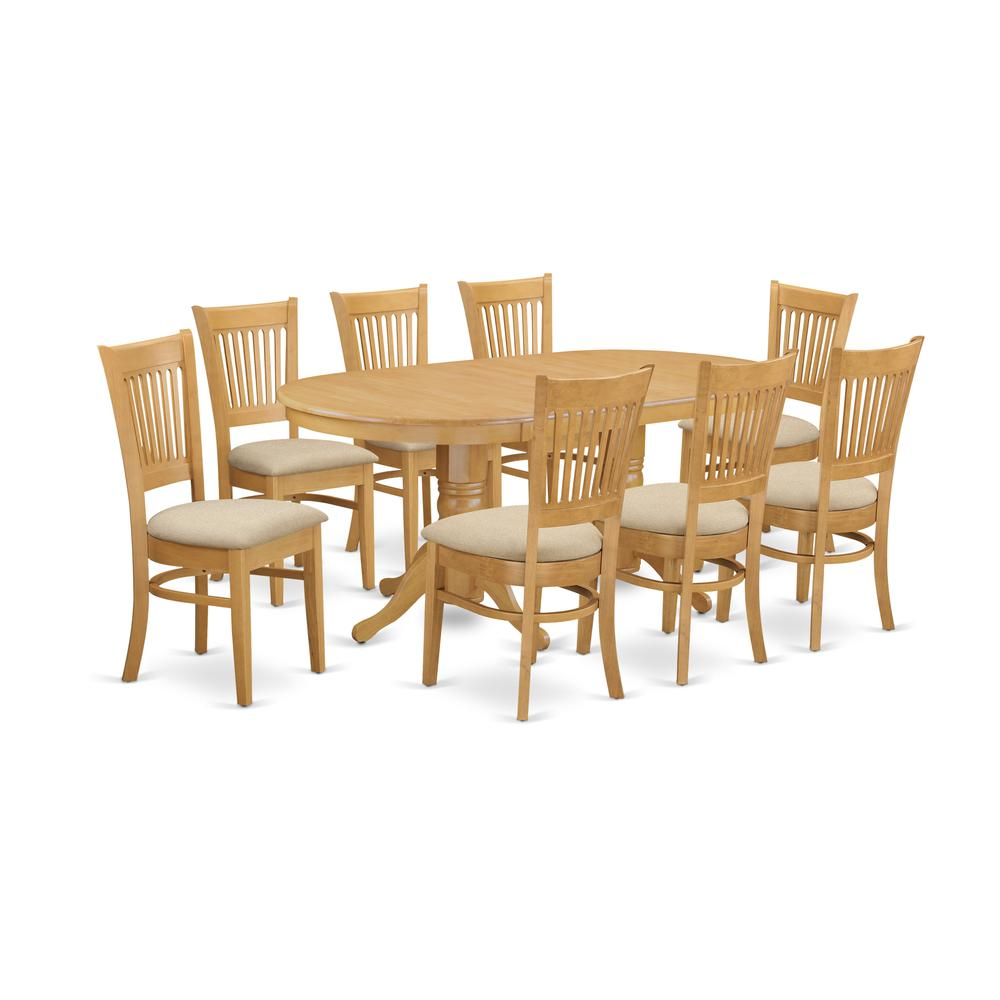 9 Pcs Dining Room Set: 9 PC Dining Room Set For 8 Dining Table With Leaf And 8