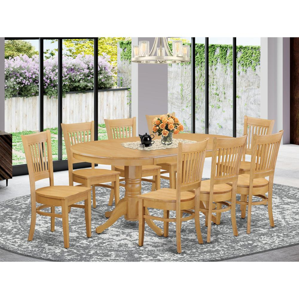 Dining Room Sets With Leaf: 9 Pc Dining Room Set-Double Pedestal Oval And Leaf And 8