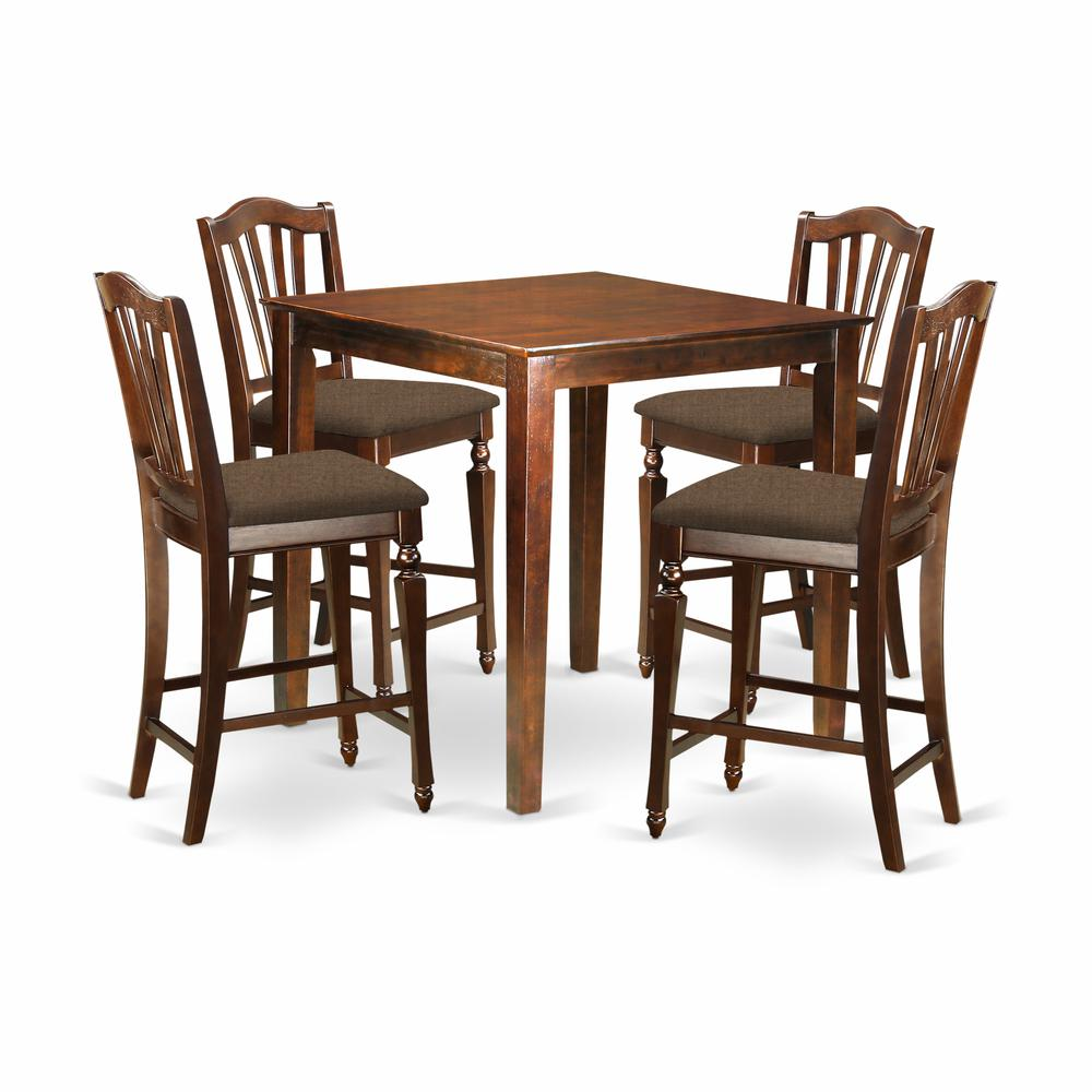 Pc Square Pub Table Set: 5 PC Counter Height Set-pub Table And 4 Kitchen Chairs