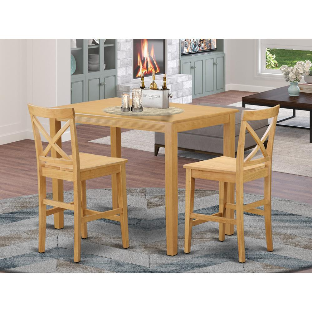 3 Pcs Modern Counter Height Dining Set Table And 2 Chairs: High Top Table And 2 Dining