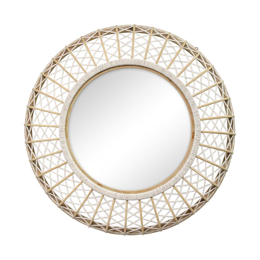 Stratton Home Decor 33 50 Cassie Woven Rattan Wall Mirror Ebay