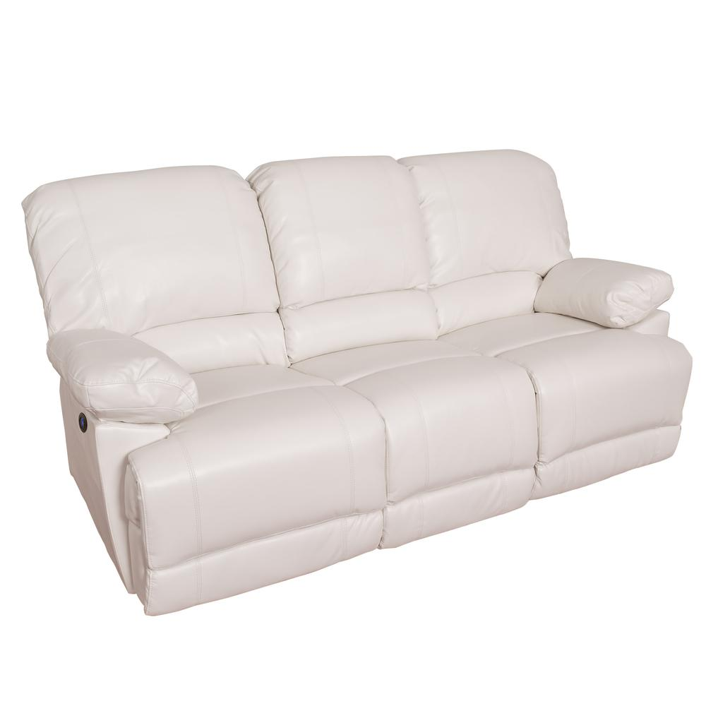 Details about Lea White Bonded Leather Power Reclining Sofa With USB Port