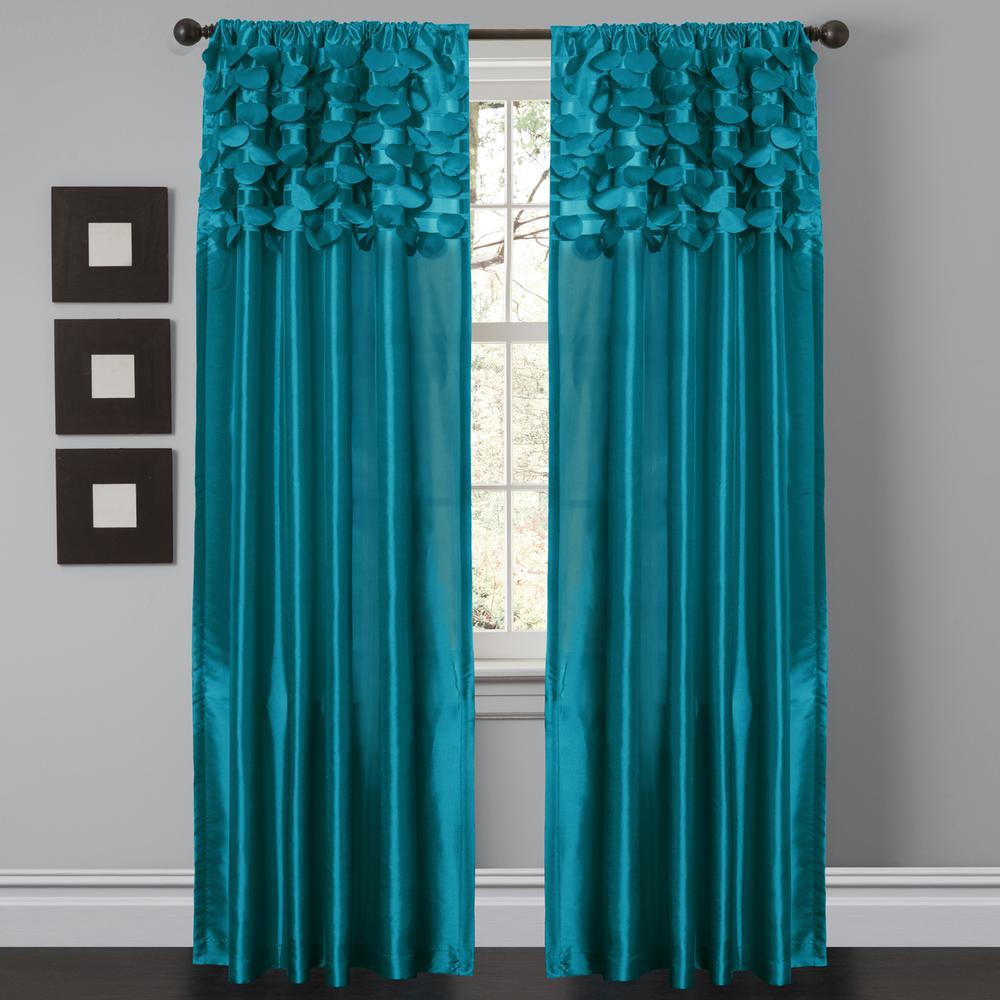 Circle Dream Turquoise Window Curtain Set 54x84