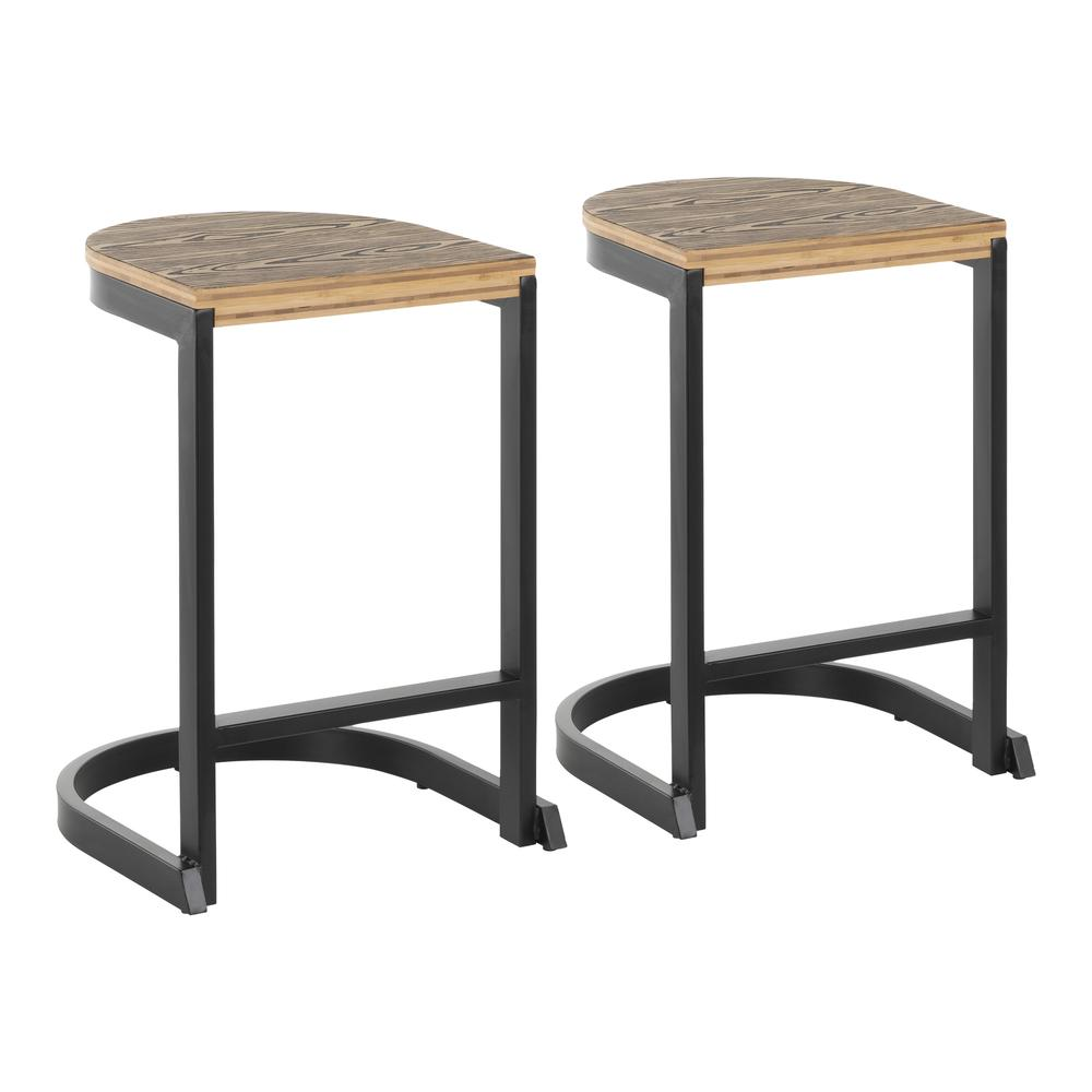 Cool Details About Industrial Demi Counter Stool In Black And Wood Pressed Grain Bamboo By Machost Co Dining Chair Design Ideas Machostcouk
