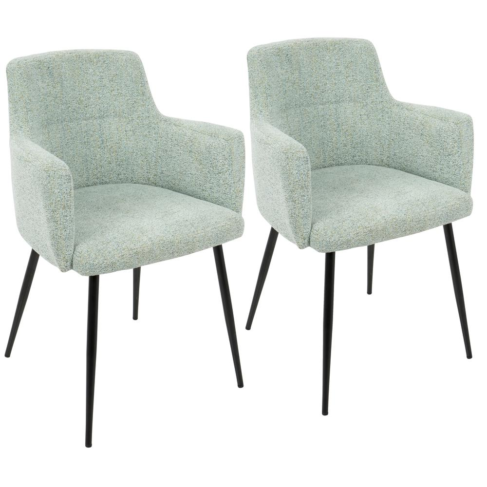 Astounding Details About Andrew Contemporary Dining Accent Chair In Seafoam Green Fabric Set Of 2 Interior Design Ideas Ghosoteloinfo