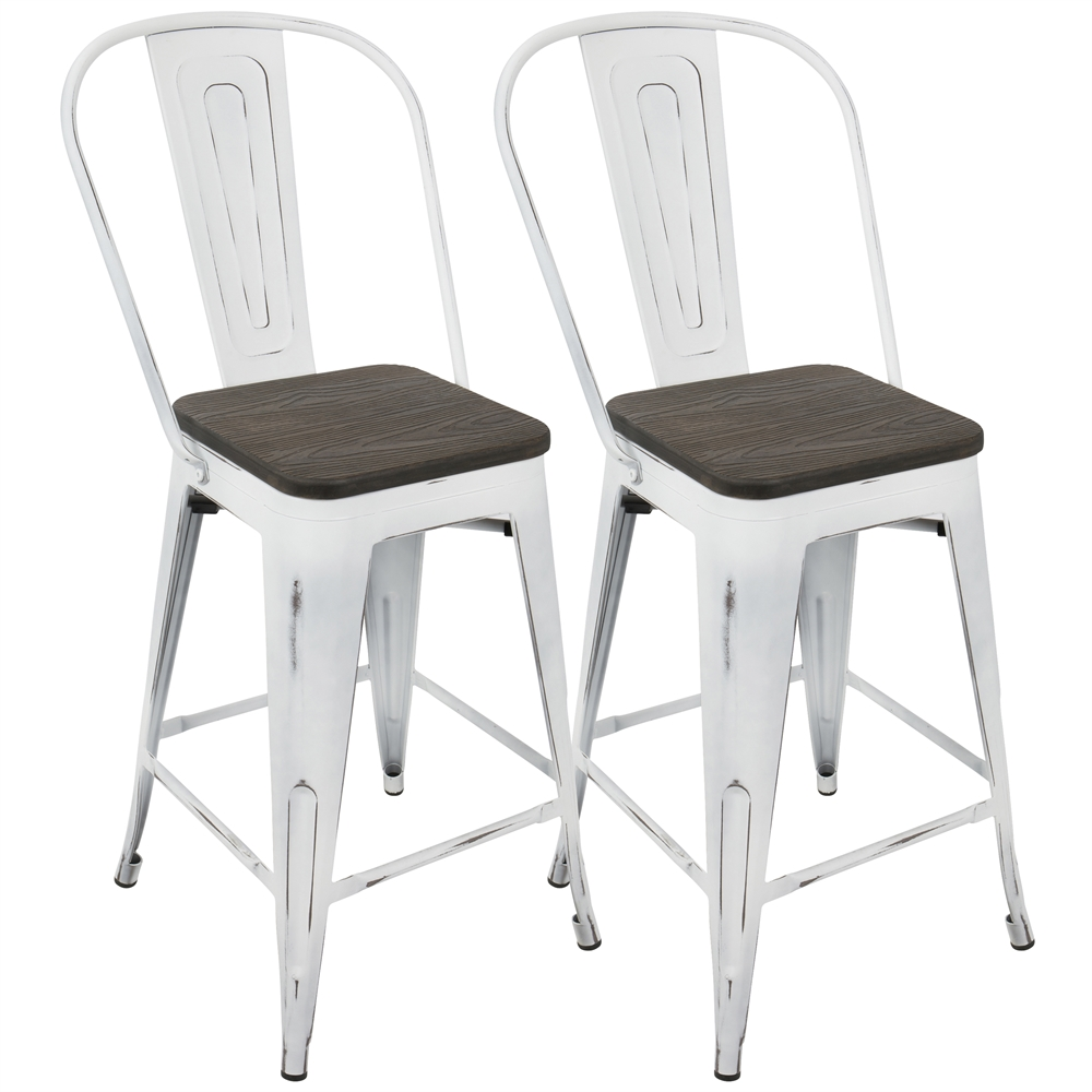 Lumisource Oregon Industrial High Back Counter Stool With