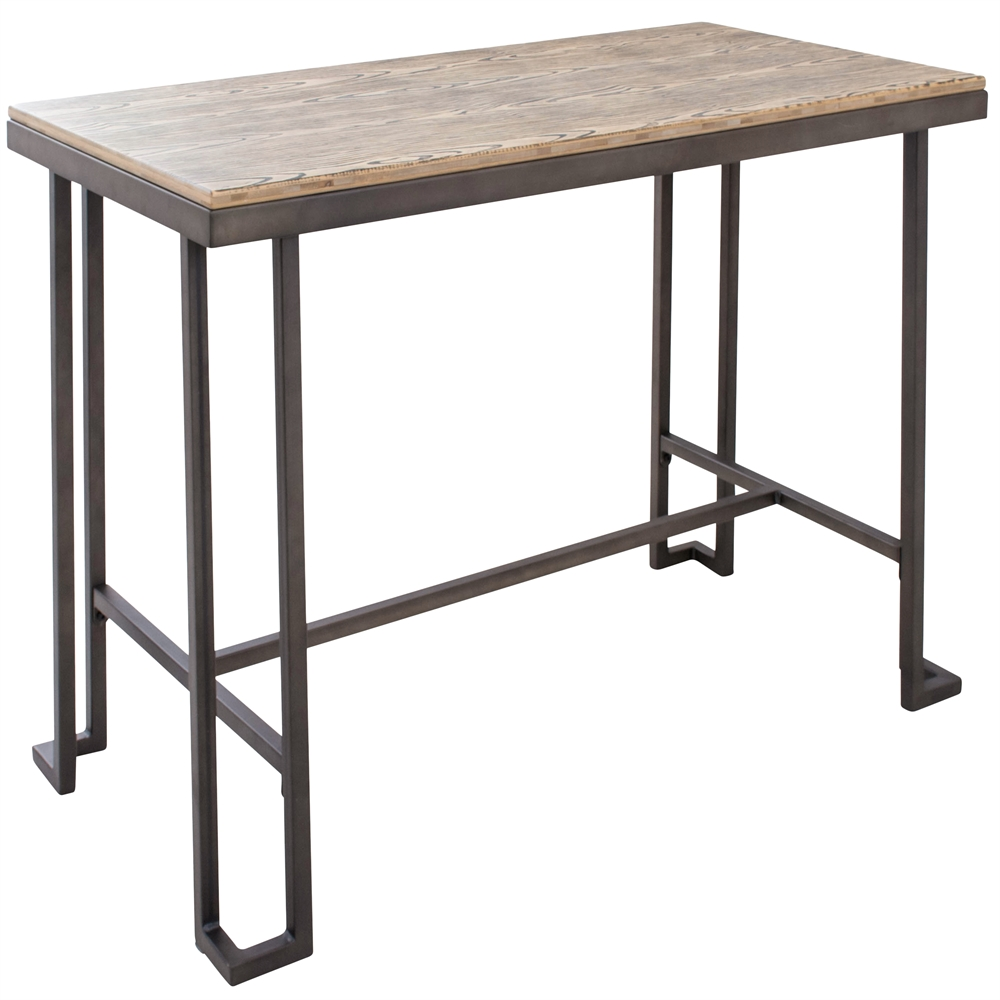 Lumisource Roman Industrial Counter Table With Wooden Top