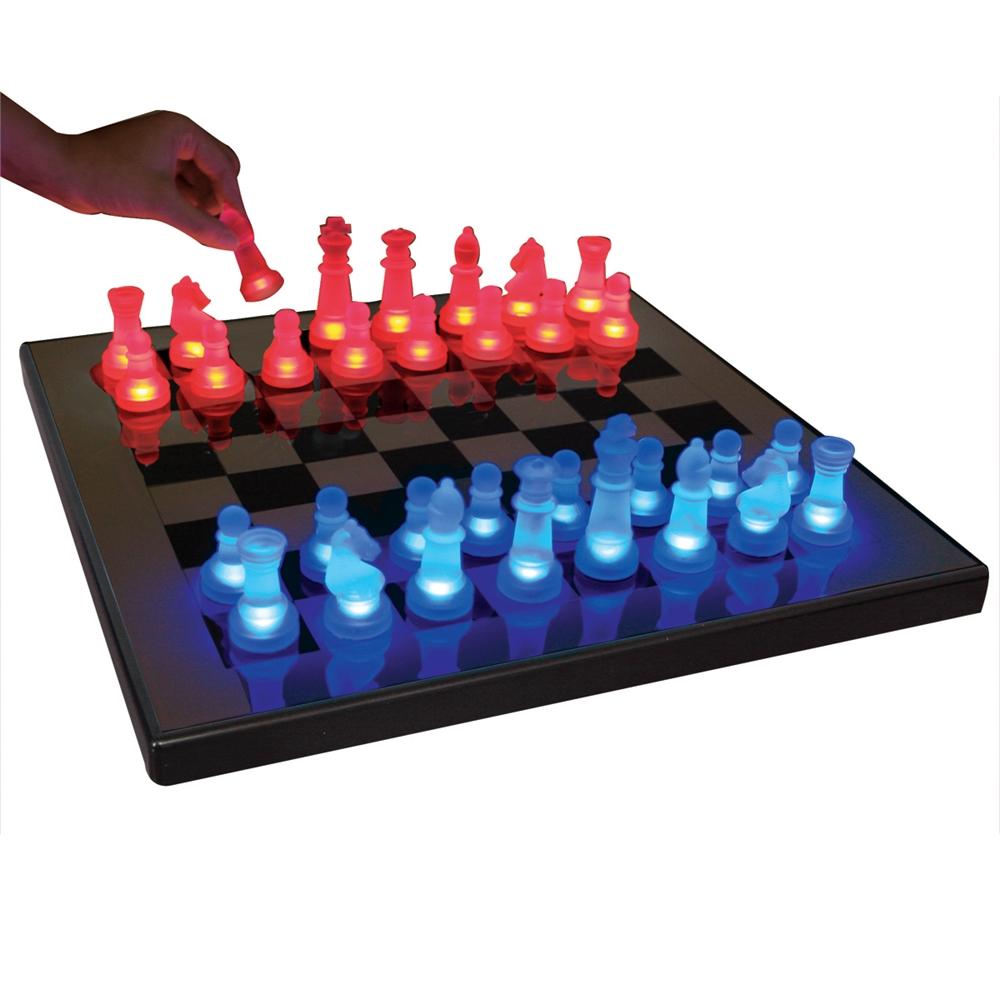 lumisource led glow chess set blue  red  ebay - lumisource led glow chess set blue  red