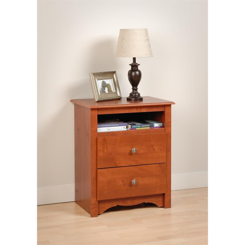 prepac cherry monterey tall 2 drawer nightstand with open shelf 772398550411 ebay. Black Bedroom Furniture Sets. Home Design Ideas