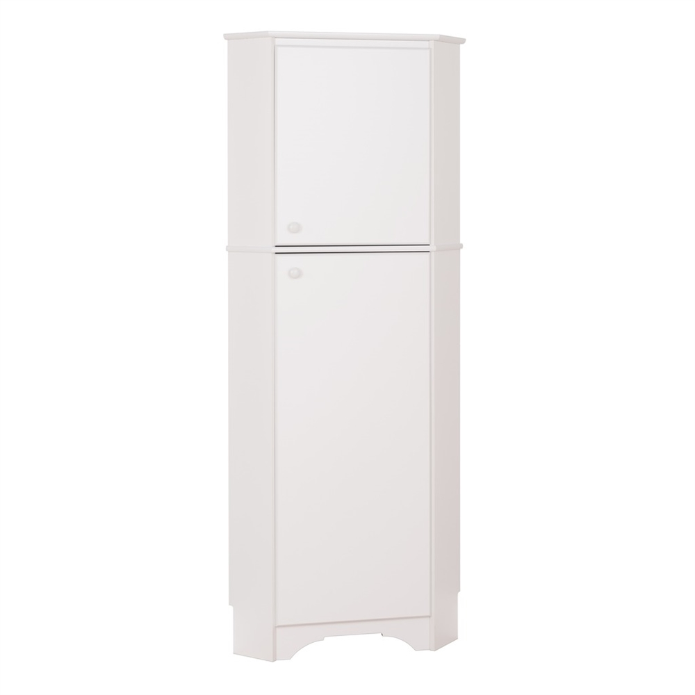 Prepac Elite Tall 2 Door Corner Storage Cabinet White