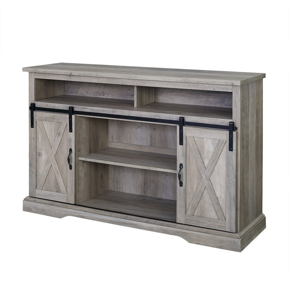 Details About 52 Modern Farmhouse High Boy Wood Tv Stand With Sliding Barn Doors Grey Wash