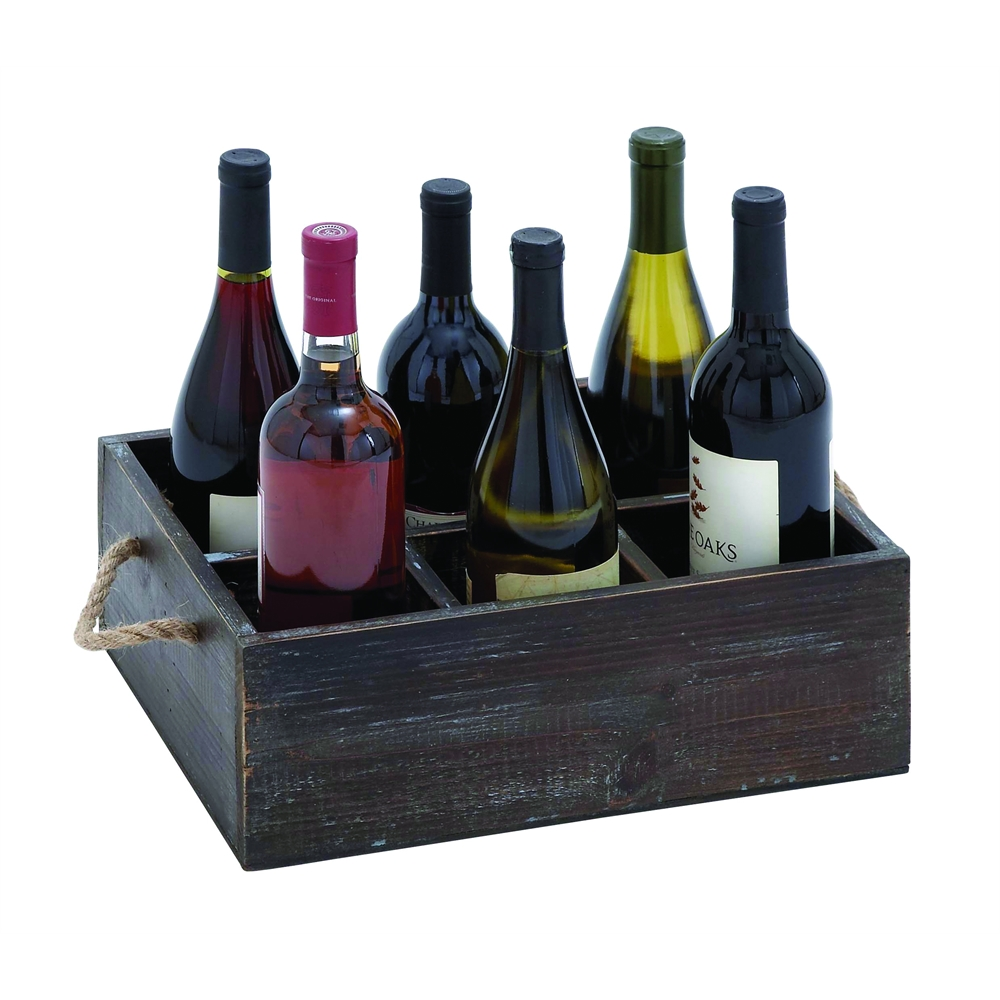 Benzara Wine Tray Crafted With Six Storage Compartments