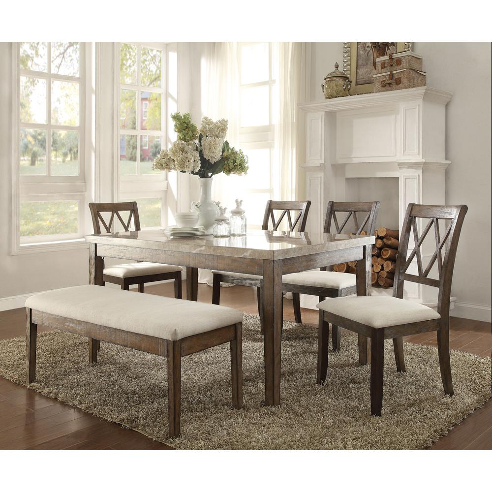 Amicable Dining Table With Marble Top, Brown And White